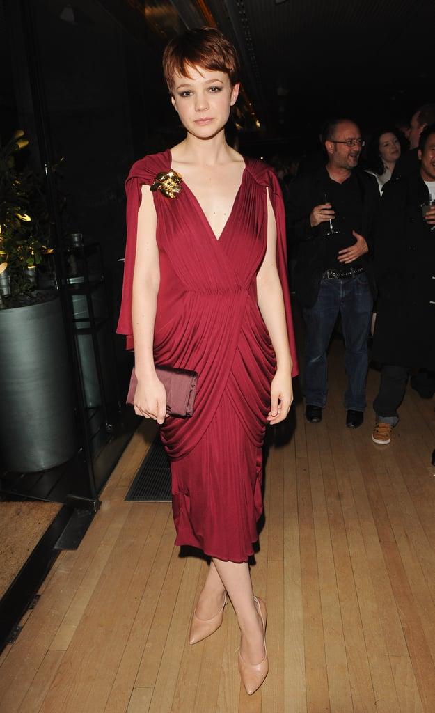 Carey Mulligan in Burgundy Vionnet at the 2009 BFI London Film Festival