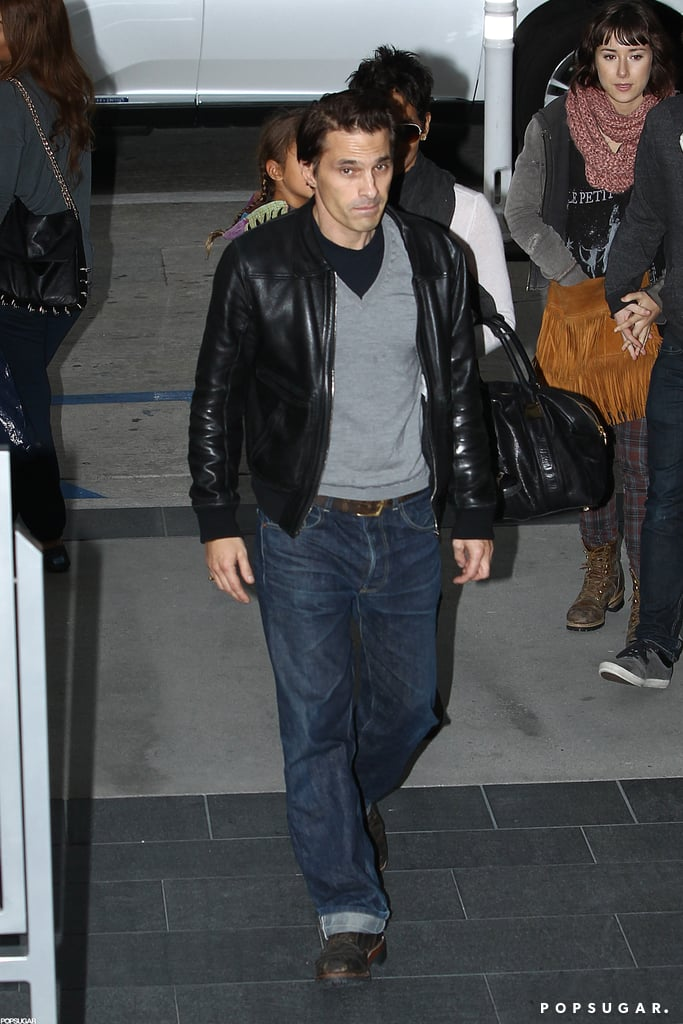 Olivier Martinez wore a gray sweater under a leather jacket for a movie date with Halle Berry and her daughter, Nahla Aubry, in LA.