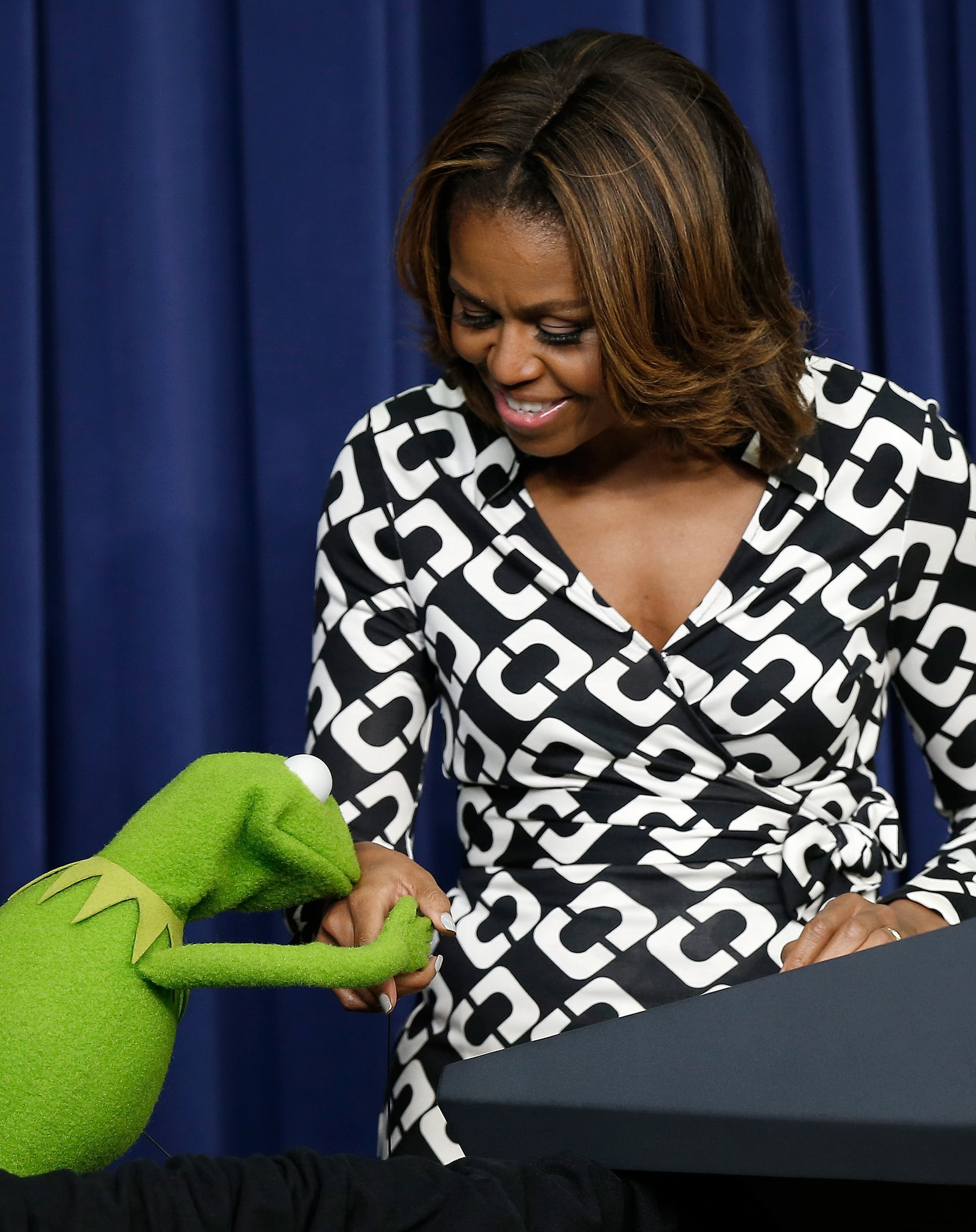 We hope Miss Piggy wasn't too jealous when Kermit the Frog spent some time with the DVF-clad first lady.