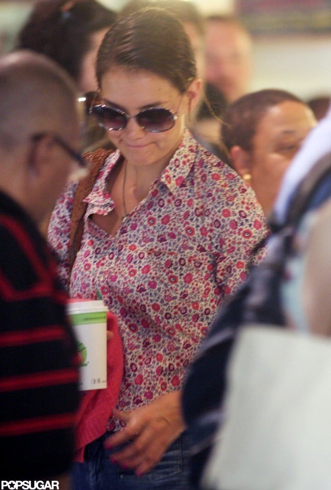 Katie Holmes wore a patterned shirt.