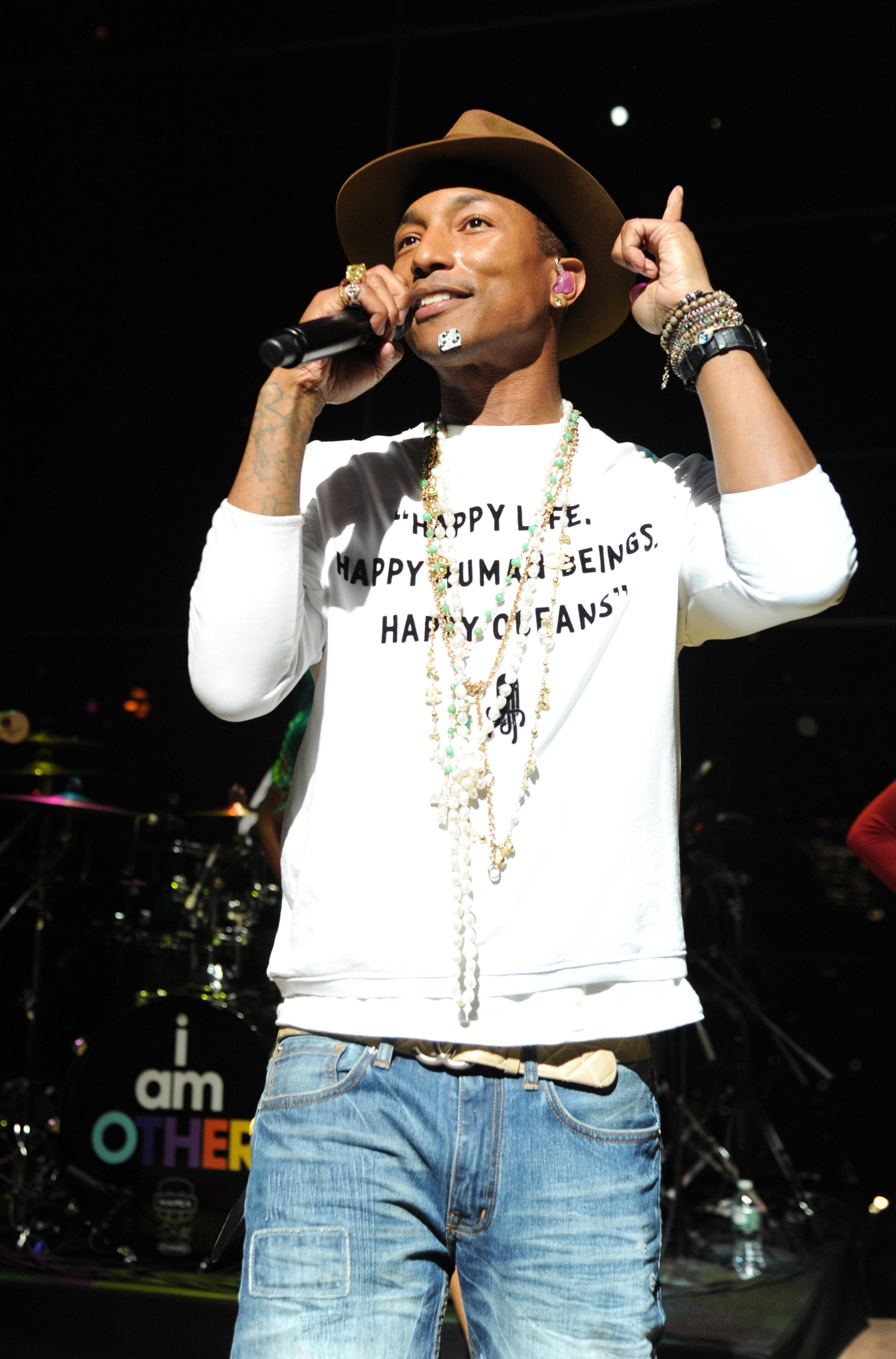 Pharrell performed during the dinner.