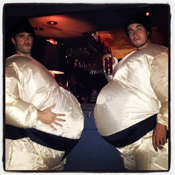 Josh Bowman rocked a sumo-wrestler suit for Halloween. Source: Instagram user marcmalkin