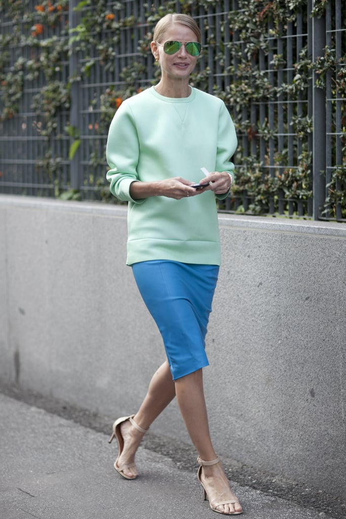 Pastels are still ripe for the wearing, as shown by this minty top.