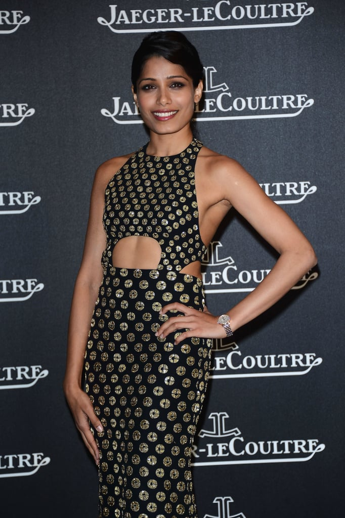 Freida Pinto posed at the Jaeger-LeCoultre party in Venice.