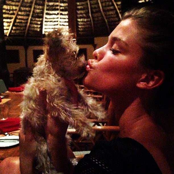 Nina Agdal doesn't shy away from bringing her little dog to dinner. Source: Instagram user ninaagdal