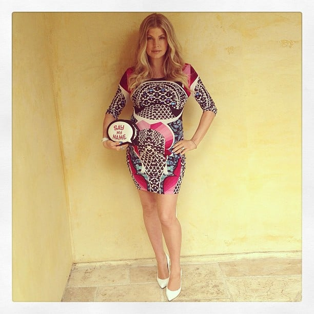 Fergie wore a tight printed dress for her baby shower. Source: Instagram user fergie