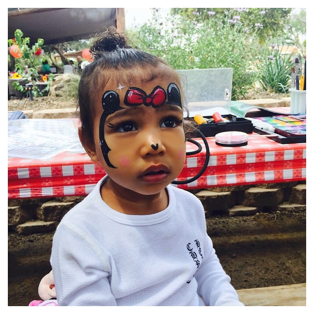 North had her face painted like Minnie Mouse's.