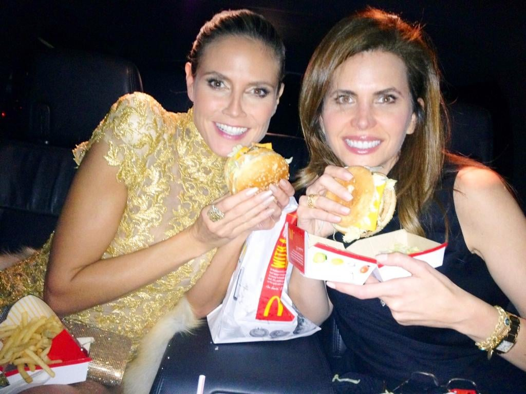 Heidi Klum ended her night at the AMAs with a good friend and a Big Mac!  Source: Twitter User HeidiKlum