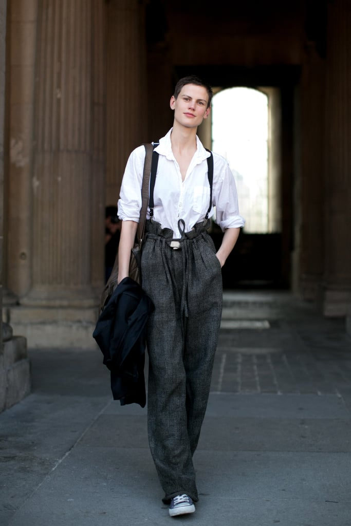 She mastered tomboy dressing with suspenders and paper-bag waist trousers.