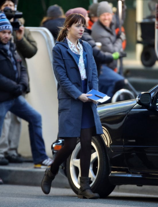 Johnson put on a long coat and tights — fitting for Seattle, where the movie takes place.