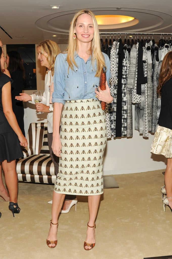 Lauren Santo Domingo looked leggy in a printed pencil skirt at the Society of Memorial Sloan-Kettering Cancer Center benefit.