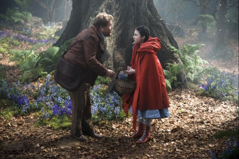 Corden as the Baker and Lilla Crawford as Red Riding Hood.
