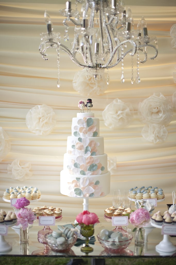 The soft colors and design of this dreamy cake look like a mix between balloons and flower petals.