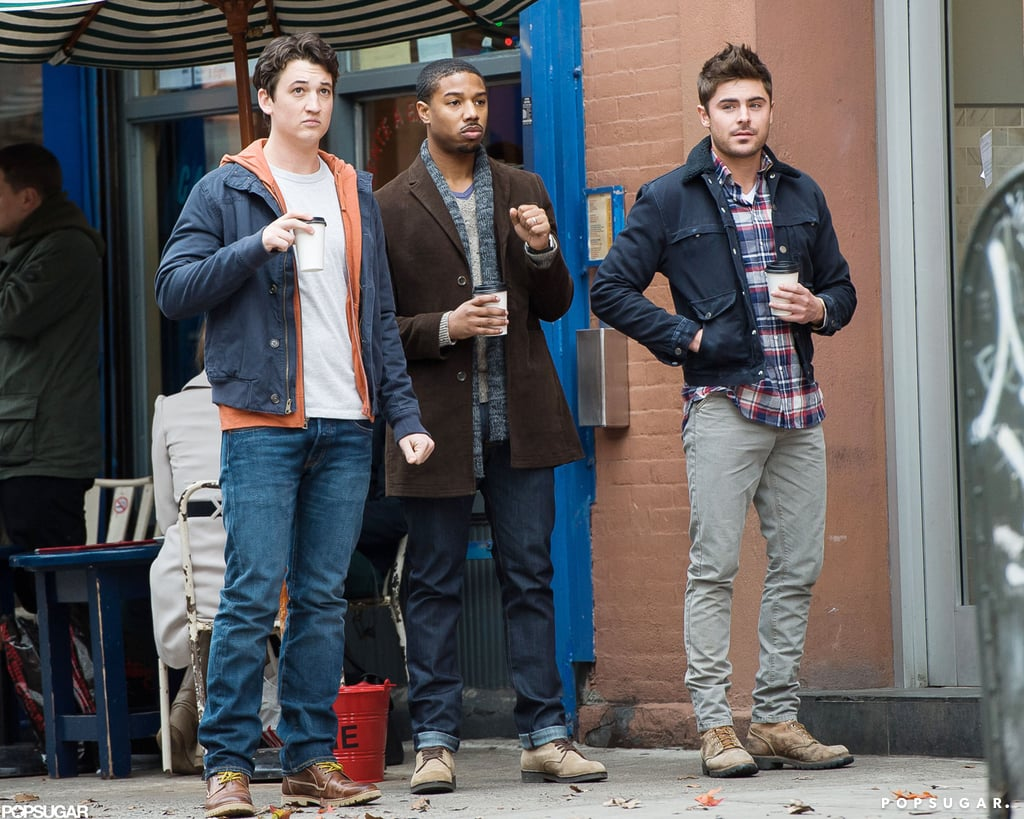 Zac Efron and his costars filmed outside of a café.