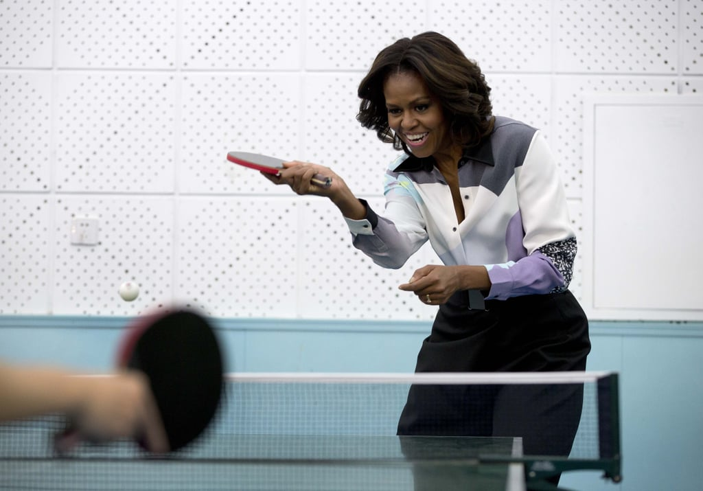 Michelle Obama had a blast playing ping-pong on Thursday during her action-packed stay in Beijing.