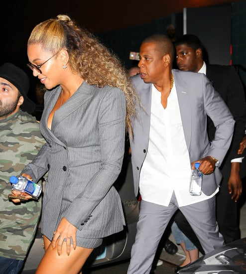 Beyoncé and Jay Z at Hands of Stone New York premiere together in matching grey