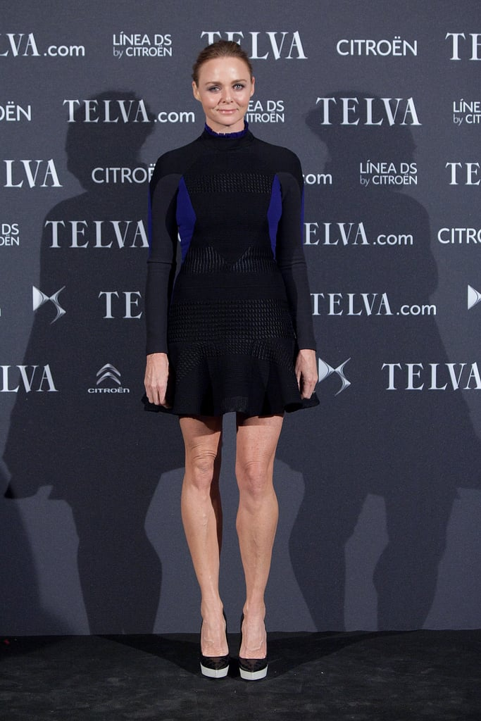 Stella McCartney wore a long-sleeved minidress from her own collection during an event in Madrid this November.
