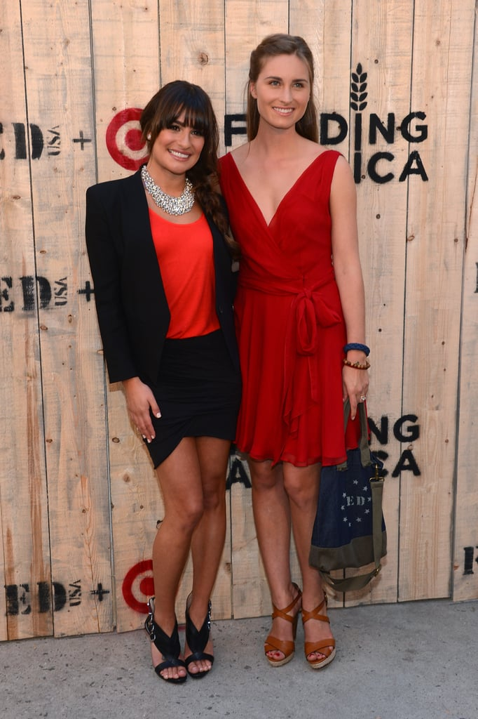 "Co-hosts Lea Michele and Lauren Bush Lauren stuck to the ""red"" dress code at the Target FEED Collaboration party on June 20."