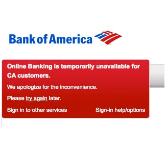 Bank of American Website Is Down