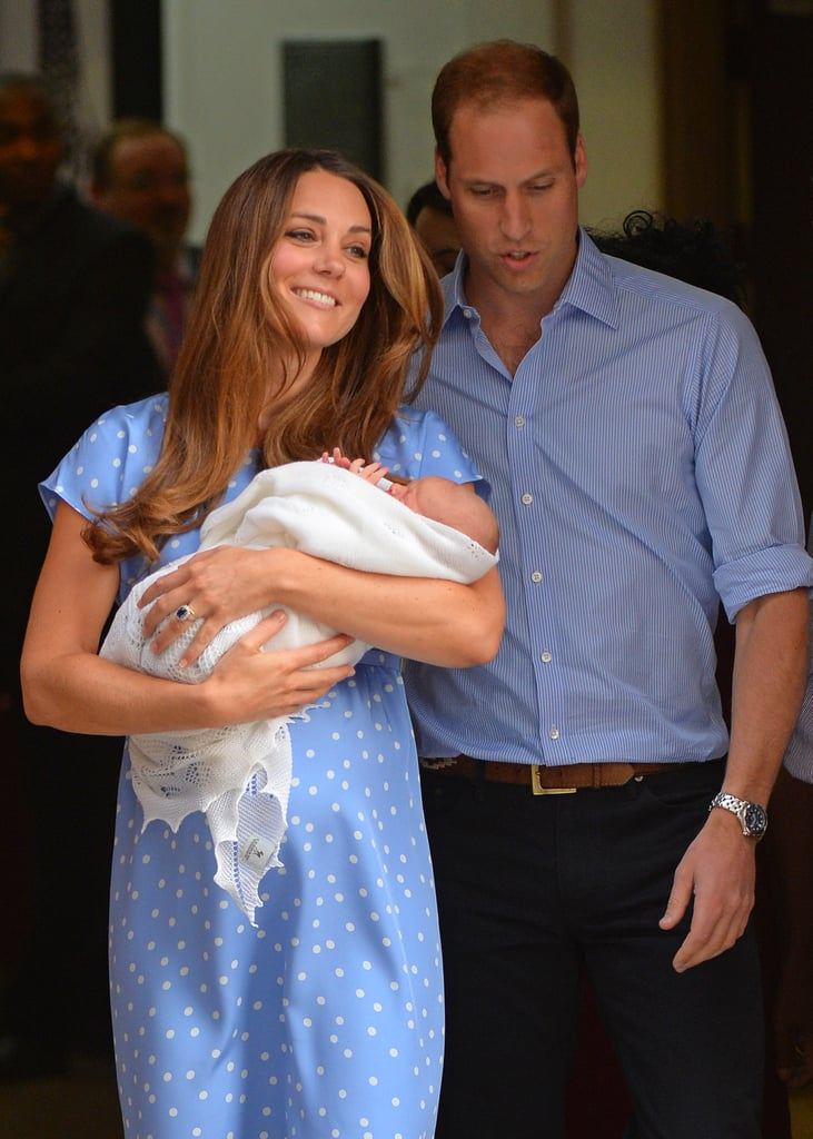 Catherine, Duchess of Cambridge, smiled as she and Prince William stepped out of the hospital with their newborn son.