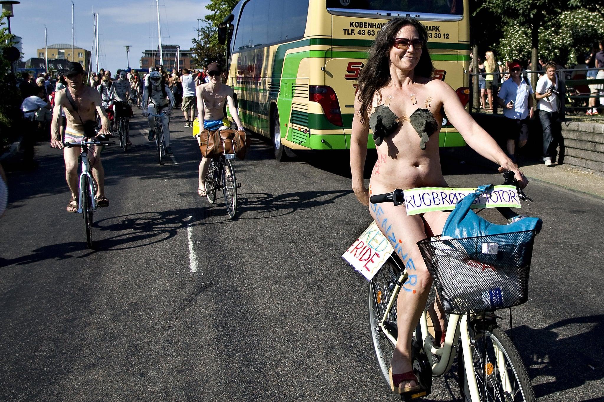 World Naked Biking Day in Copenhagen, Denmark.