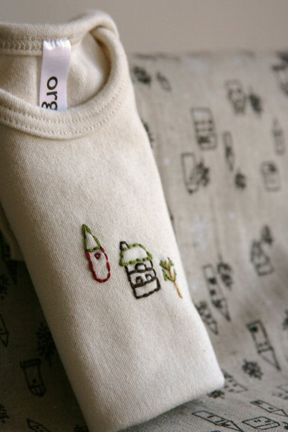 Etsy user crzybaglady hand-embroidered this Organic Onesie in Woodland Cottage ($12). Simple yet full of rustic charm, it arrives ready for baby, already machine-washed in an unscented, dye- and phosphate-free laundry detergent.