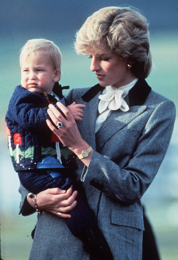 Princess Diana carried baby Prince William at the Aberdeen, Scotland, airport in October 1983.