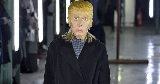 Model Struts Down Runway In Donald Trump Mask At French Fashion Show