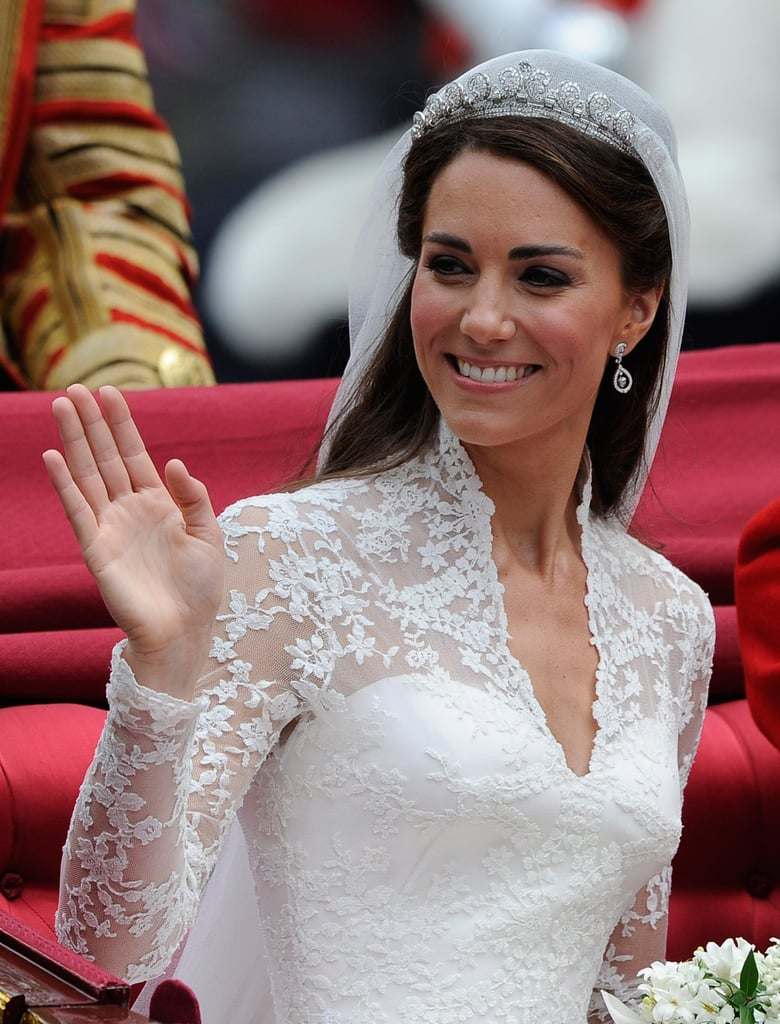 On her wedding day in 2011, Kate's gorgeous blowout was nestled under a delicate crown and long veil.