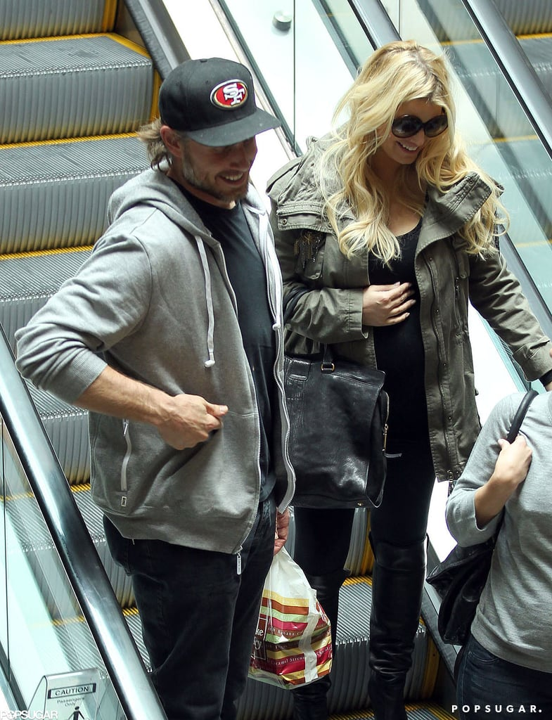 Pregnant Jessica Simpson had lunch at The Cheesecake Factory with Eric Johnson.