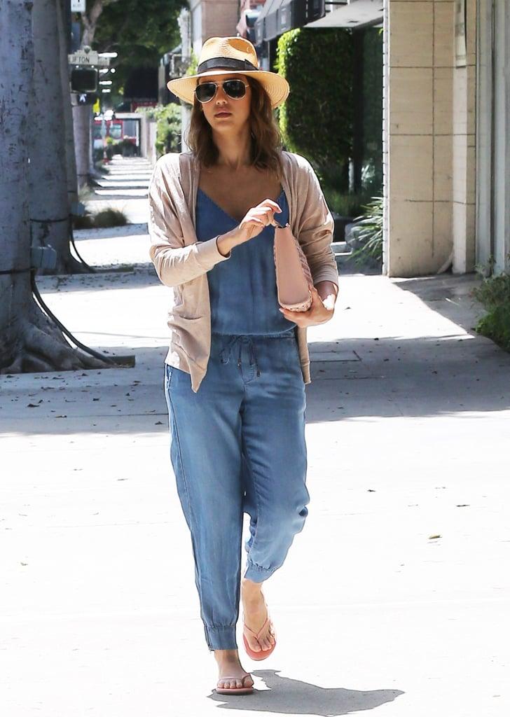Jessica Alba in Splendid Chambray Jumpsuit