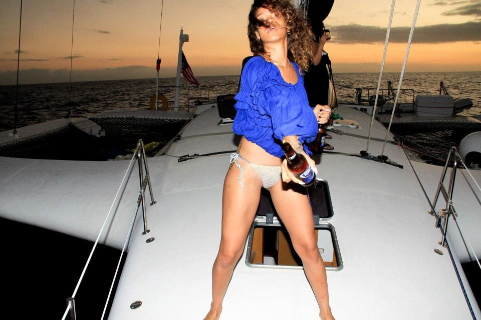 Rihanna wore her bikini at night on a boat.