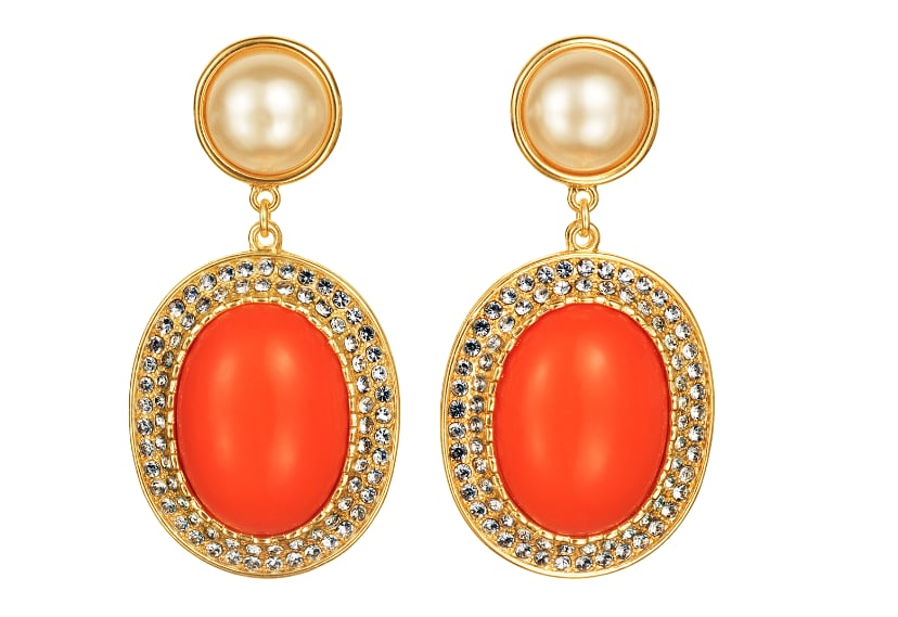 Editors' Pick: Wear these pretty pearl-accented drop earrings with the color of the season: oxblood red. The orange will make the darker hue pop.