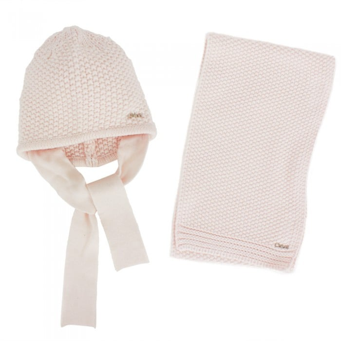 The Chloé Pink Hat and Scarf Set ($136) is polished and elegant in a soft pink shade.