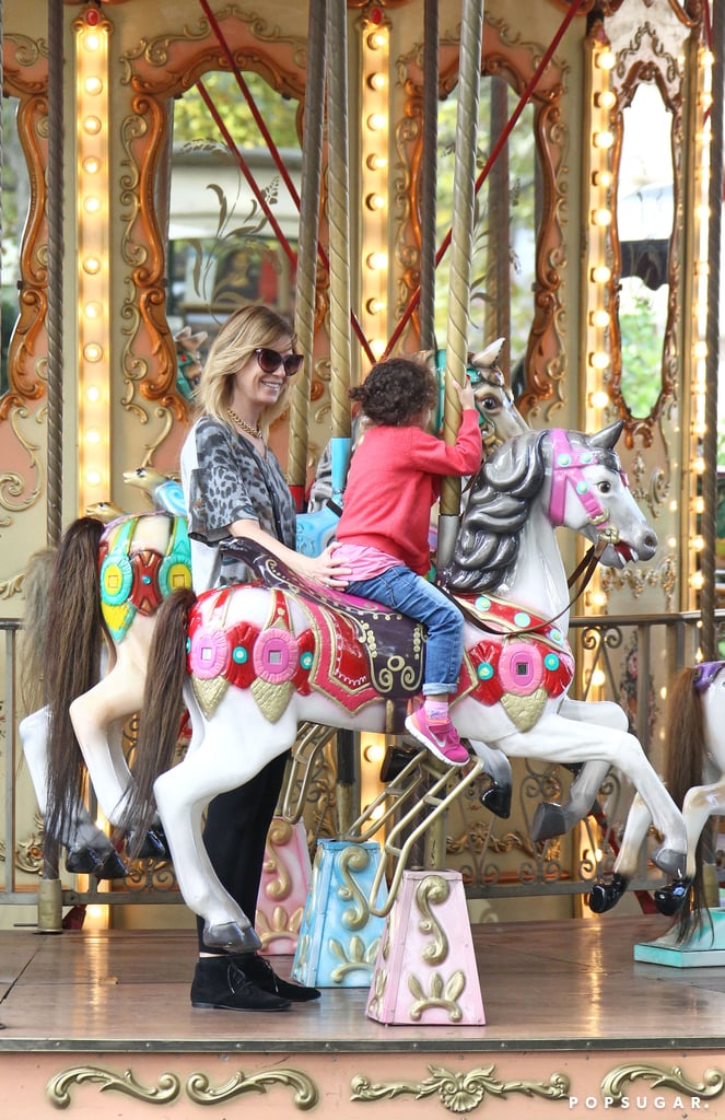 Ellen Pompeo joined Stella Ivery on a Roman carousel ride.