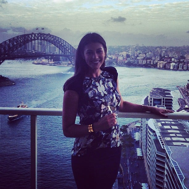 Stephanie Rice ended Australia Day with drinks in front of the iconic Harbour Bridge. Source: Instagram user itsstephrice