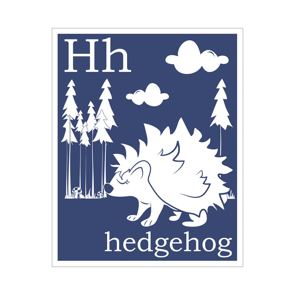H Is For Hedgehog Print