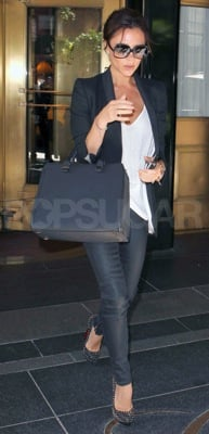 Victoria Beckham Wears Spiked Christian Louboutin Pumps