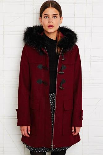 Cooperative Fur Trim Duffle Coat in Red