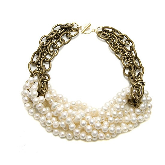 Janna Conner Knotted White Pearl Necklace, $190