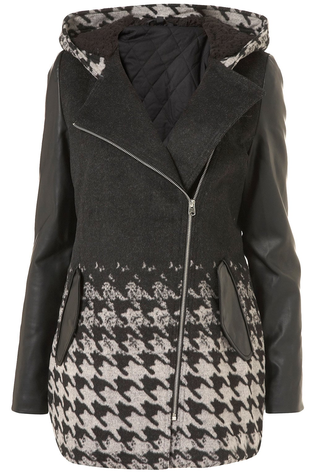 We love the unique use of print and colorblocking on Topshop's Dogtooth Duffle Coat ($170).