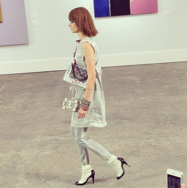 At the Chanel show, we were introduced to a styling trick that any bag lover can get behind. Why wear one crossbody when you can wear two? Source: Instagram user popsugarfashion