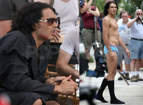 Pictures of Russell Brand in His Blue Underwear on the NYC Set of Arthur