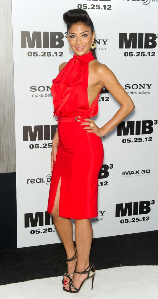 Nicole Sherzinger wore a bright red dress to the Men in Black III premiere in NYC.