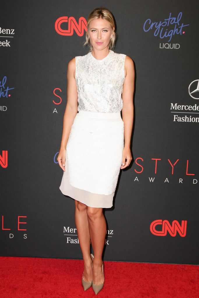 Maria Sharapova was fresh as ever in a white ensemble and beige pumps at the 2013 Style Awards in NYC.