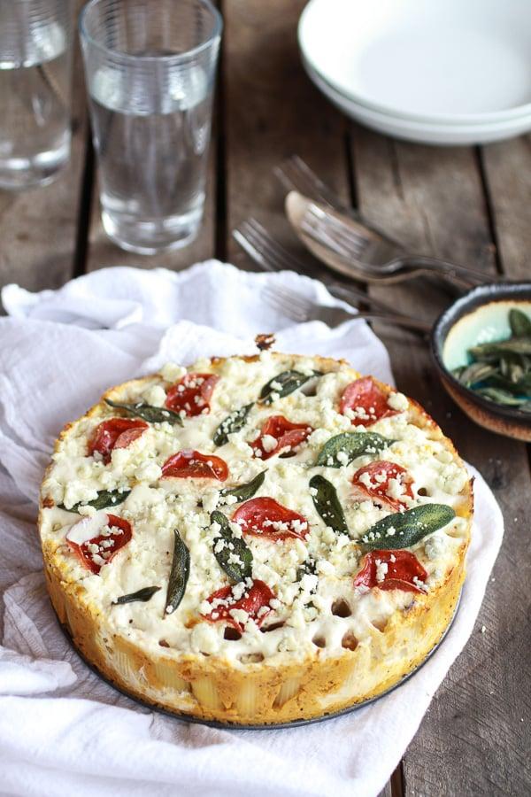 Butternut Squash and Gorgonzola Rigatoni Pie With Fried Sage