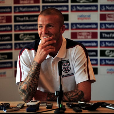 David Beckham at a Press Conference in London