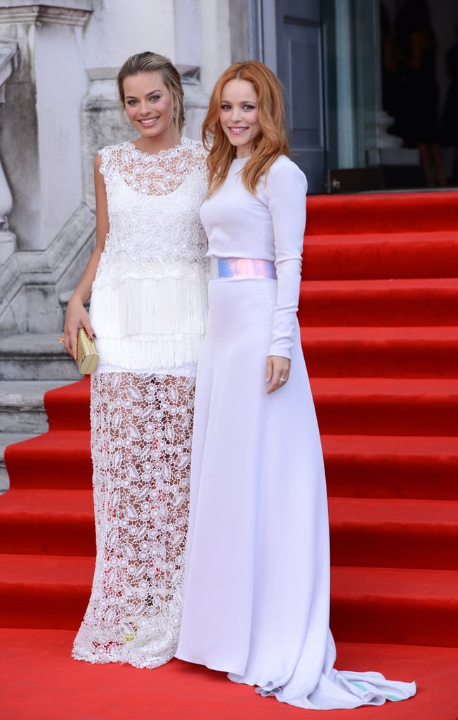 Margot Robbie and Rachel McAdams paired their white gowns (Ermanno Scervino and Roksanda Ilincic, respectively) at the London About Time premiere.