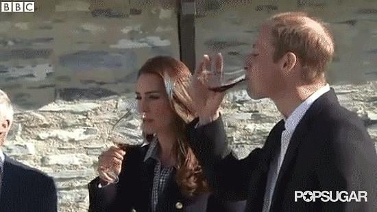Kate polishing off a big glass of wine.