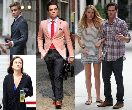 Pictures of Leighton Meester, Blake Lively, Penn Badgley, Ed Westwick, and Clemence Poesy Shooting Gossip Girl